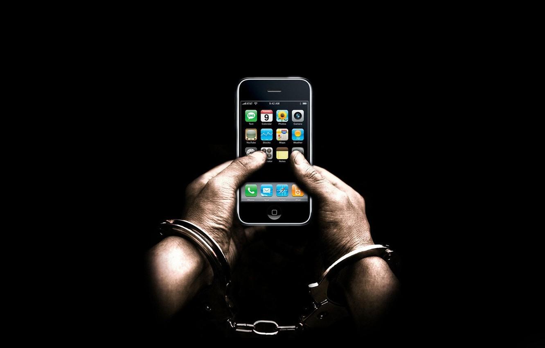 Фото обои руки, iphone, Наручники