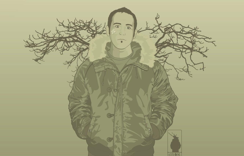 Фото обои ветки, минимализм, Вектор, куртка