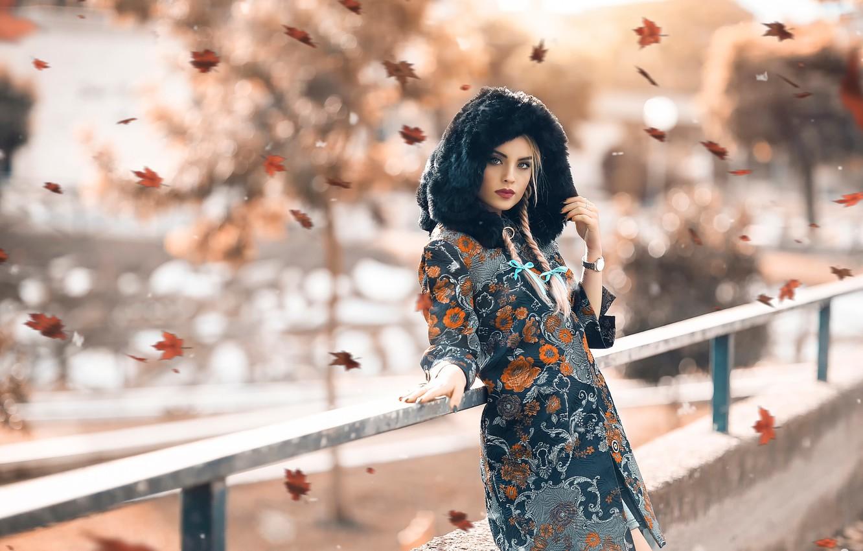 Фото обои девушка, листопад, Alessandro Di Cicco, Autumn beauty