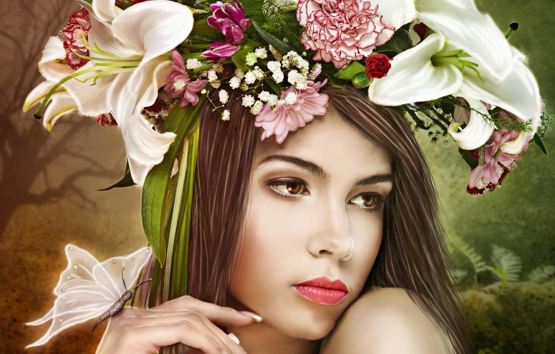 Фото обои взгляд, девушка, цветы, лицо, бабочка, руки, арт, венок
