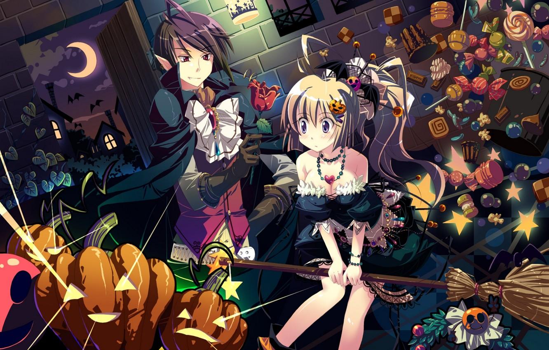Фото обои цветок, девушка, ночь, праздник, луна, роза, аниме, арт, тыквы, вампир, парень, летучие мыши, halloween, yamadori …