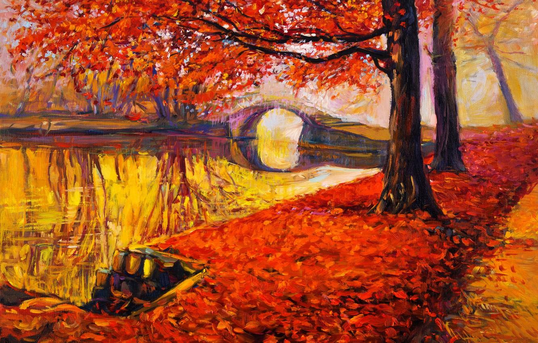 Фото обои пейзаж, краски, картина, живопись, landscape, autumn, painting, oil, watercolor