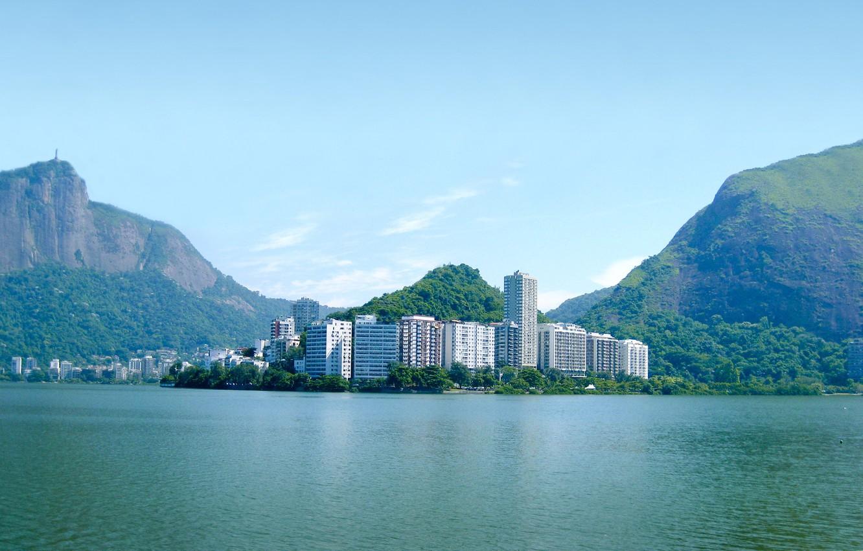 Фото обои океан, остров, дома, бухта, Город, Бразилия, wallpapers, Рио-де-Жанейро, brasil, Rio de Janeiro, Сity