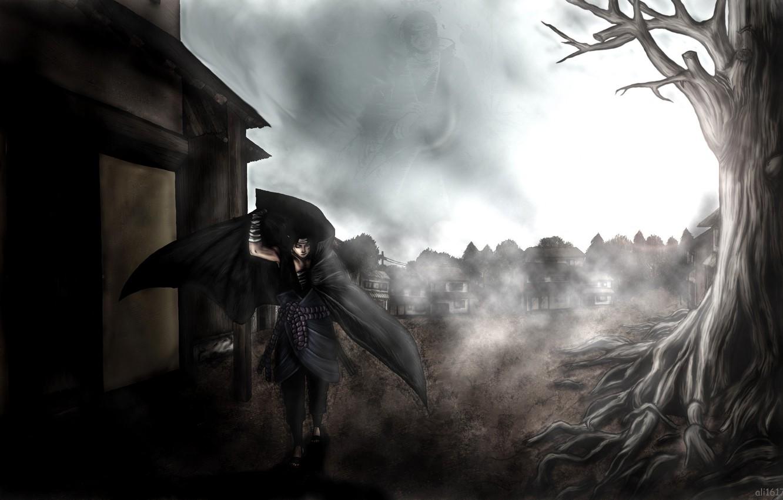Фото обои птицы, город, туман, дерево, катана, naruto, бинты, Uchiha Itachi, uchiha sasuke