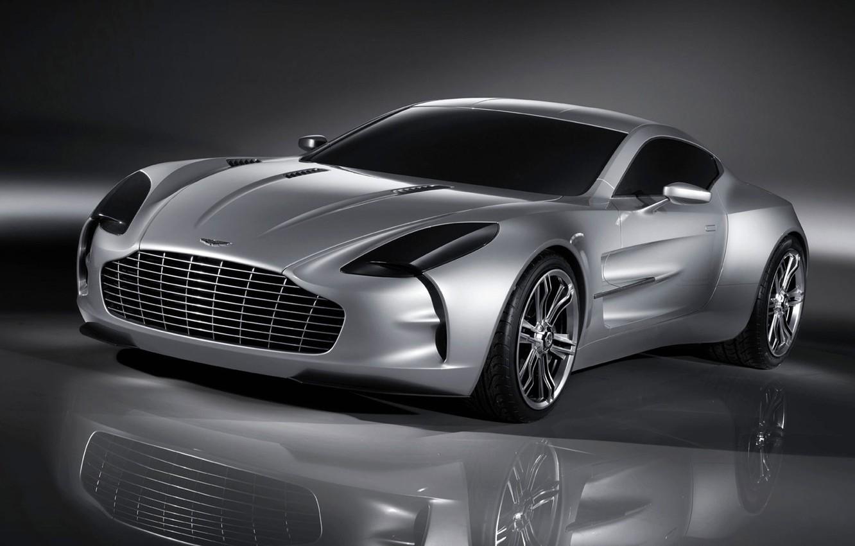 Фото обои отражение, Aston Martin, серебро, ONE 77