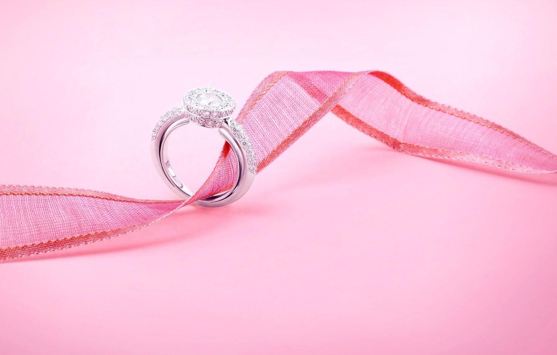 Фото обои праздник, кольцо, лента, украшение, свадьба, драгоценность, обручальное, розовый цвет