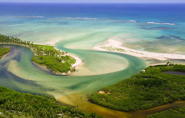 Фото обои море, пейзаж, река, Бразилия, устье, Tatuamunha
