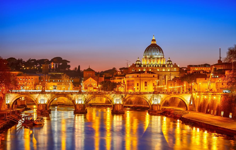 Фото обои ночь, мост, город, здание, Рим