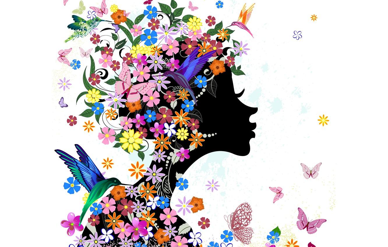 Обои Birds, abstraction, абстракция, цветы, girl. Абстракции foto 15