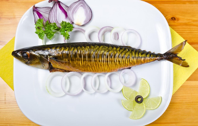 Фото обои фото, лимон, еда, рыба, тарелка, лайм, морепродукты, лук репчатый