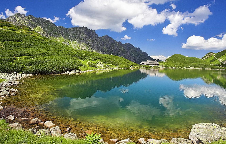 Фото обои лето, небо, вода, горы, природа, озеро, прозрачная, далеке, домик.