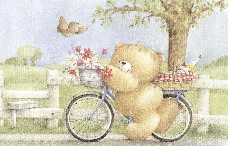 Фото обои лето, цветы, велосипед, настроение, арт, мишка, прогулка, букетик, детская, Forever Friends Deckchair bear