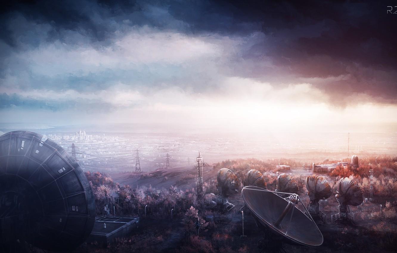 Фото обои небо, облака, природа, город, провода, арт, башни, постапокалипсис, yu-kun