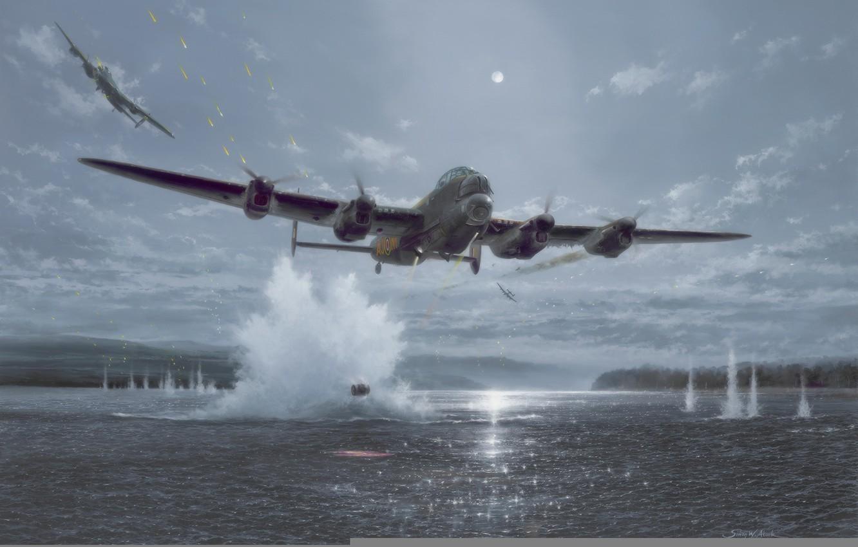Фото обои war, art, painting, drawing, ww2, british aircraft, lancaster bomber, dambusters
