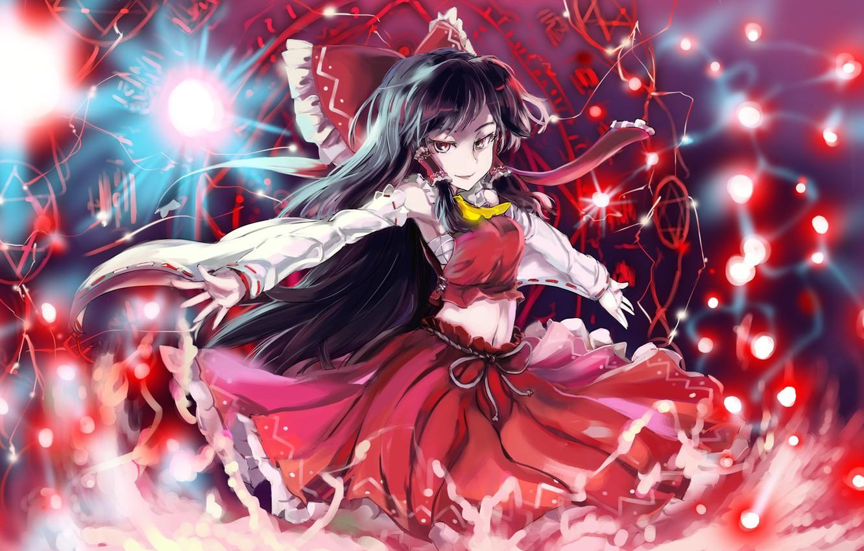 Фото обои взгляд, девушка, улыбка, магия, пентаграмма, touhou, art, hakurei reimu, sinzan