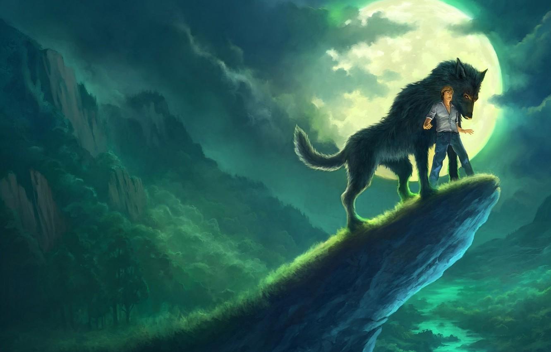 Фото обои ночь, тучи, скала, река, скалы, волк, арт, парень, Andreas Rocha
