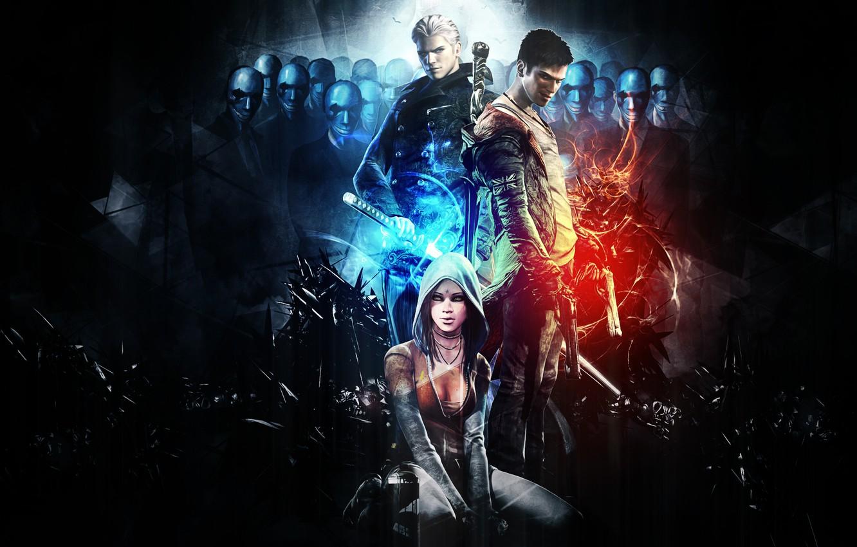 Фото обои Dante, background, Capcom, DmC, Devil May Cry, Vergil, video game, Kat, The Order, Hideki Kamiya