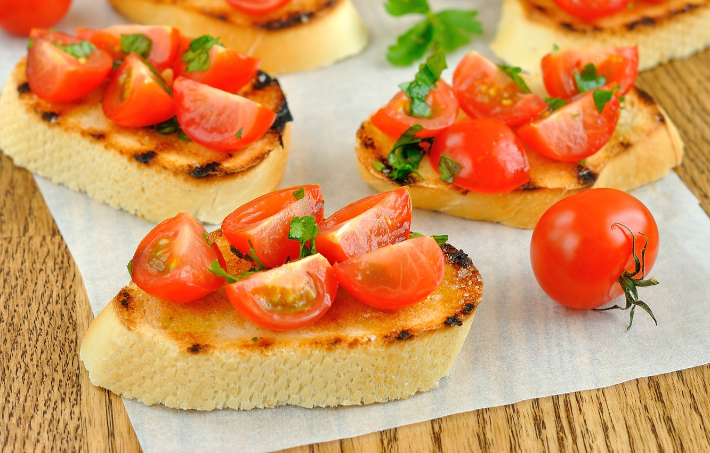 Фото обои хлеб, бутерброд, помидоры, багет, томаты, салфетка, черри