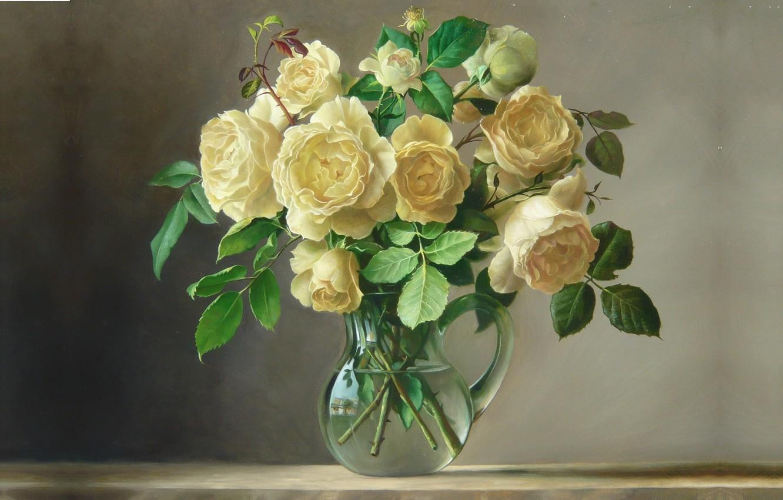 Фото обои вода, цветы, букет, картина, арт, кувшин, Pieter Wagemans