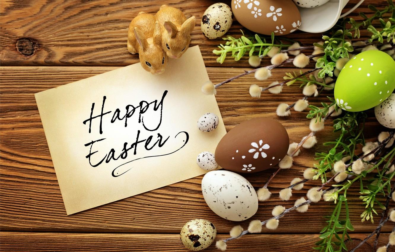Фото обои яйца, Пасха, кролики, верба, flowers, spring, Easter, eggs