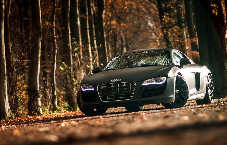 Фото обои Audi, ауди, спорткар, black, front, V10