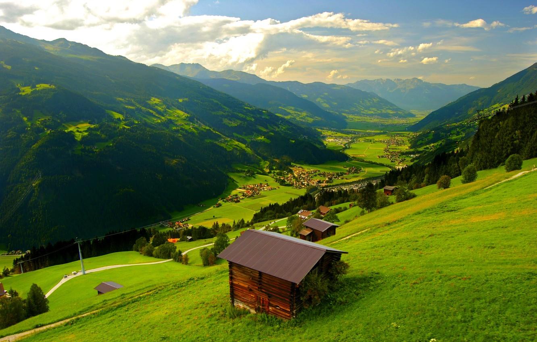 Фото обои дорога, лес, небо, деревья, горы, природа, скала, дом, весна, rock, house, forest, road, sky, trees, …