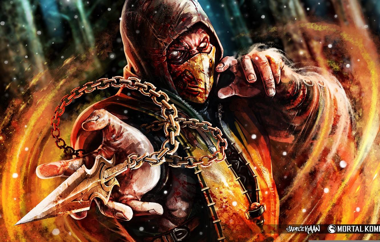 Фото обои Ghost, Mortal Kombat, Scorpion, Ninja, Shinobi, Fan art, Mortal Kombat X, Mortal Kombat 10, Kunai, …