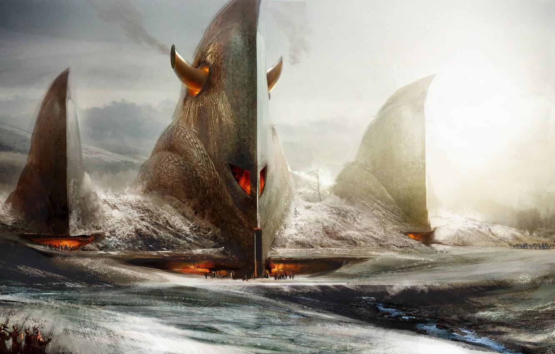 Фото обои огонь, убежище, guild wars:eye of the north
