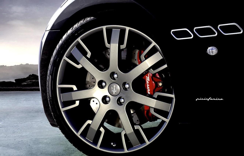 Фото обои Maserati, Черный, колесо, Мазерати