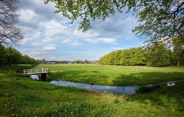 Фото обои дорога, трава, облака, деревья, ветки, дома, канал, Нидерланды, мостик, лужайка, Elswout