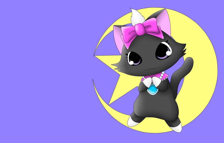 Фото обои луна, аниме, арт, котёнок, неко, бантик, детская