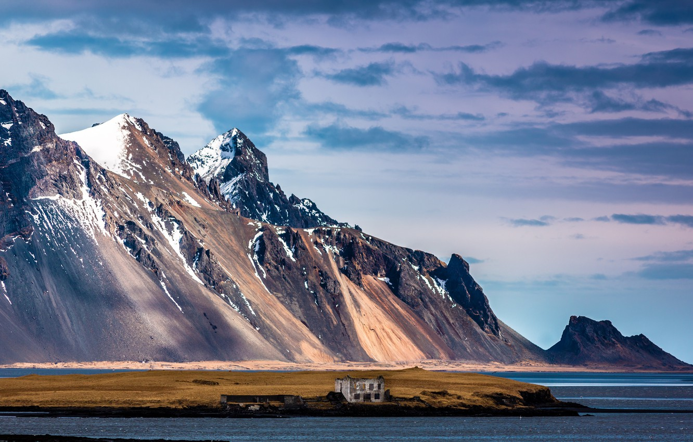 Фото обои снег, горы, Исландия, Auster-Skaftafellssysla, Hofn i Hornafirdi