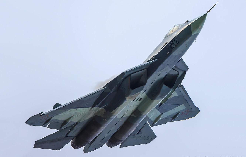 Обои Пятого поколения, многоцелевой, ПАК ФА Т-50, Самолёт, сверхзвуковой, Владислав Перминов, истребитель. Авиация foto 9