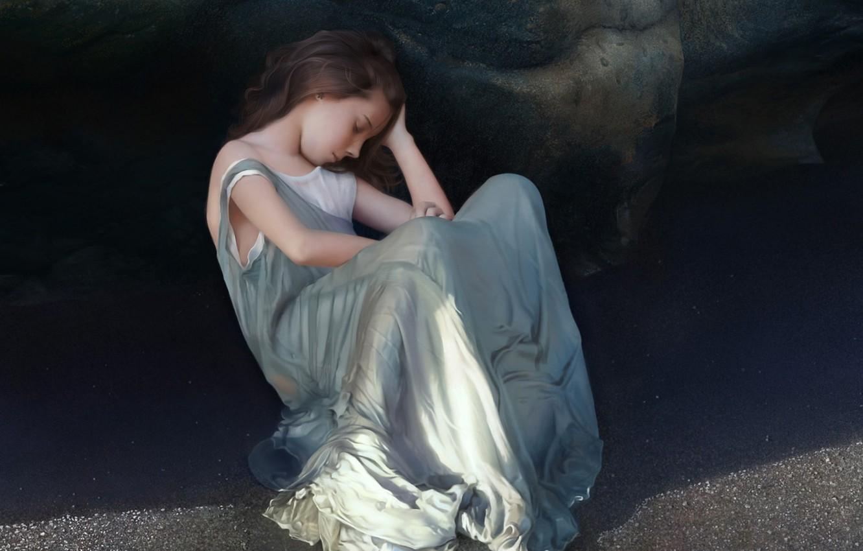 Фото обои песок, девушка, скала, тень, платье, арт, спит, девочка, сидя, тенёк