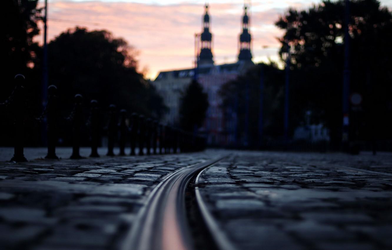 Фото обои ночь, город, улица