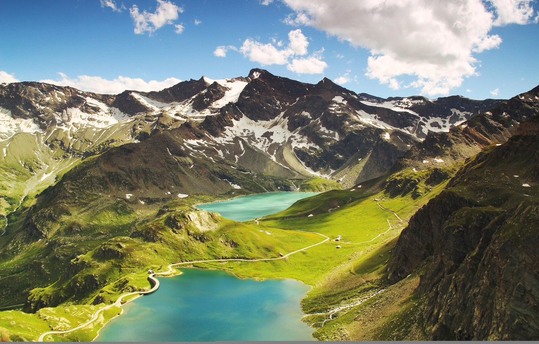 Фото обои пейзаж, горы, природа, Italy, mountains, clouds, lake, hills, Ceresole Reale