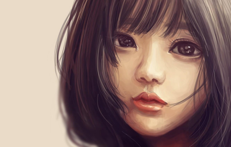 Фото обои взгляд, лицо, ресницы, волосы, портрет, art, Craelle