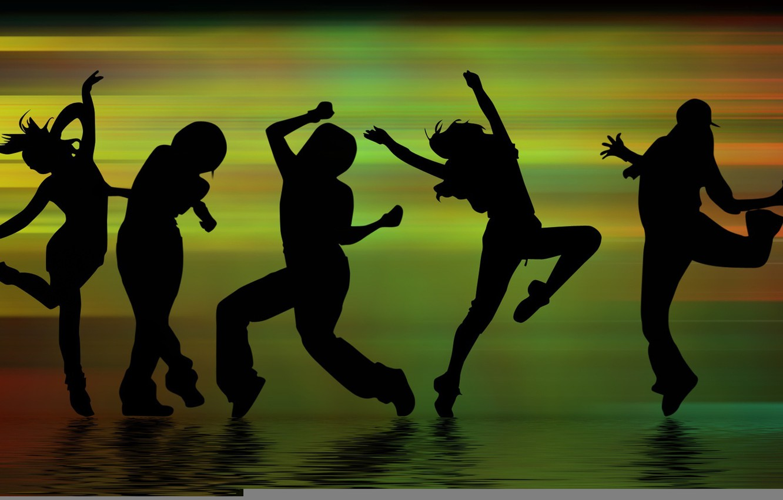 Фото обои музыка, движение, люди, танец, тени, танцы, силуэты, фигуры, веселье