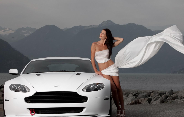 Фото обои девушка, Aston Martin, V8 Vantage