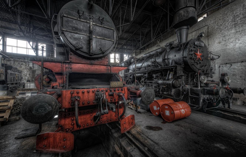 Фото обои фон, ремонт, паровозы