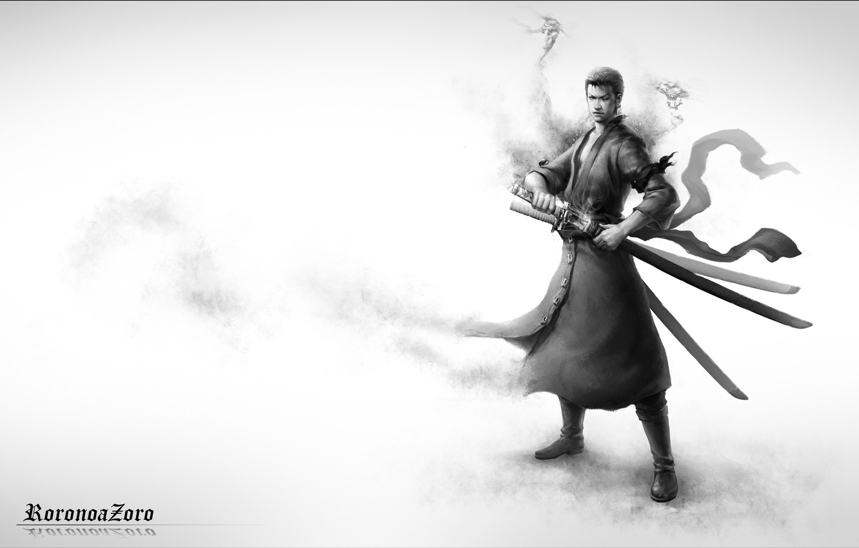 Фото обои взгляд, оружие, парень, шрам, art, roronoa zoro, one piece, катаны, монохромное, renyu1012