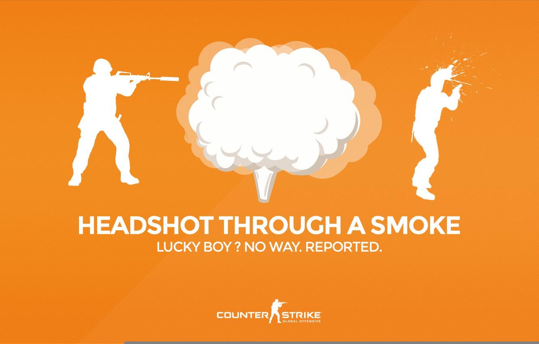 """Фото обои CS GO, Counter Strike Global Offensive, Серия """"CS GO Situation"""", Headshot through a smoke, Lucky …"""