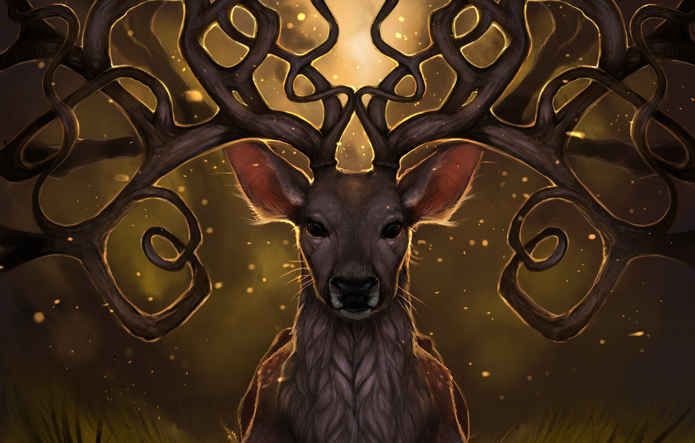 Фото обои трава, свет, светлячки, олень, арт, рога, rajewel