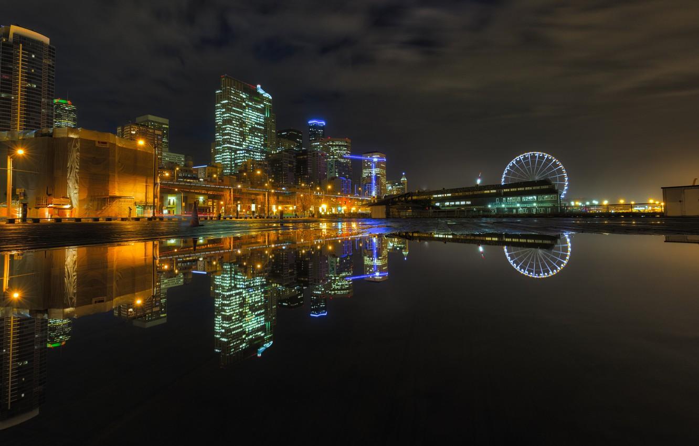 Обои ночной город, ночь, seattle. Города foto 18