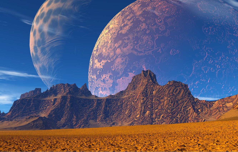 Фото обои космос, горы, фантастика, планета