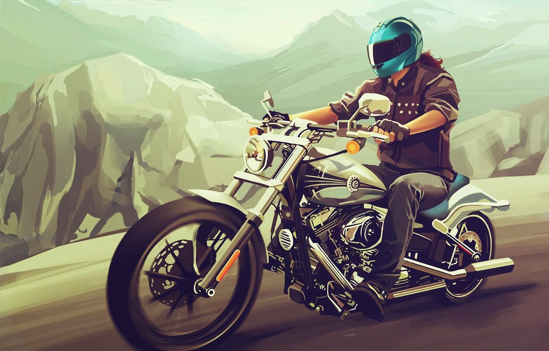 Обои Мотоцикл, Harley davidson, Пейзаж. Мотоциклы foto 13