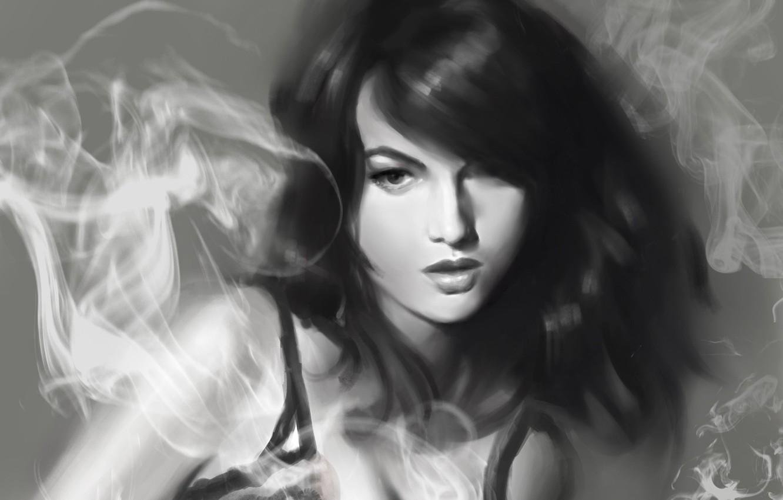 Фото обои девушка, дым, рисунок, арт, черно-белое, монохромное