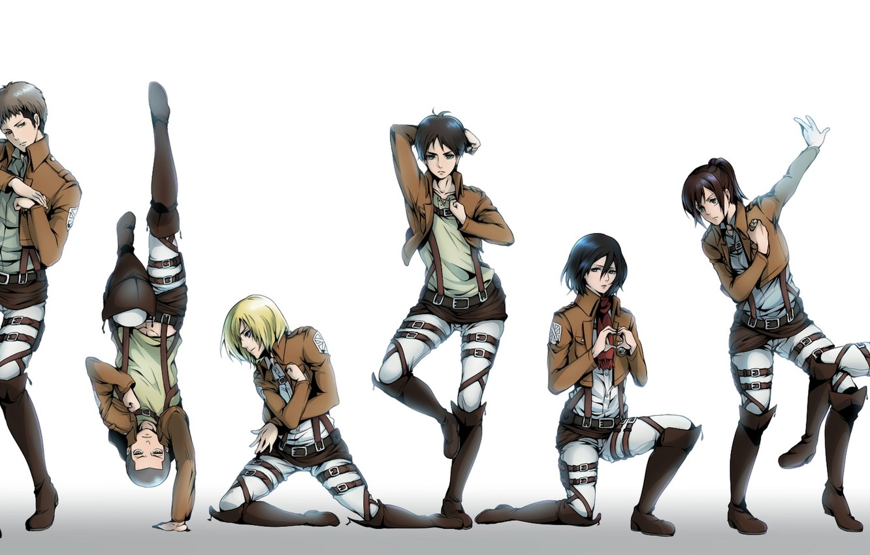 Фото обои девушки, аниме, арт, парни, позы, mikasa ackerman, eren jaeger, Shingeki no Kyojin, christa renz, annie …