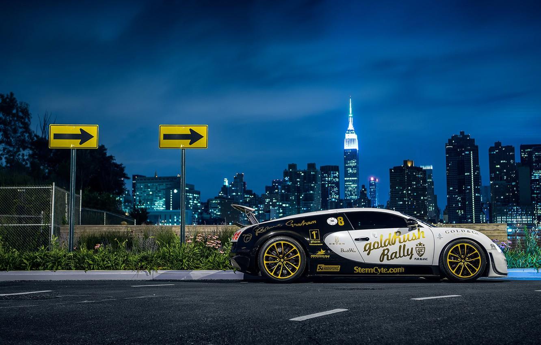 Фото обои Bugatti, Veyron, New York, NYC, Side, Supersport, Nigth, Pur Blanc