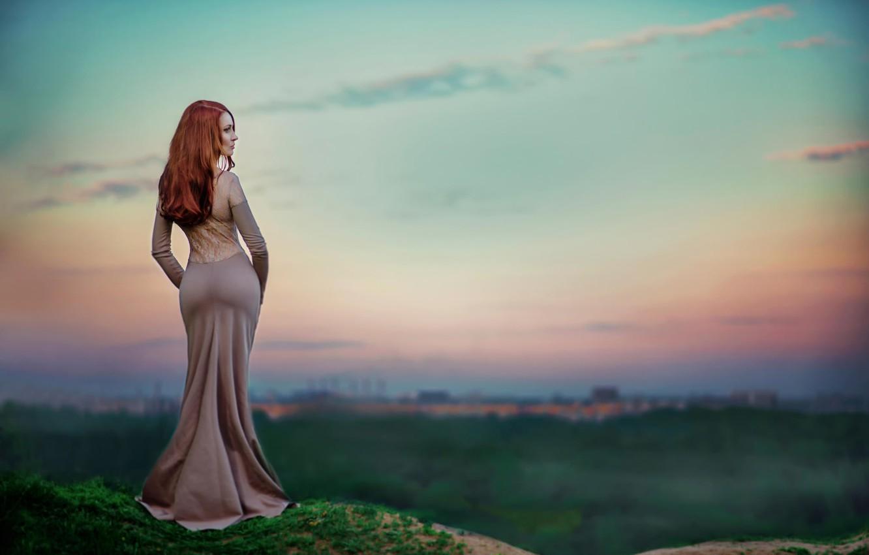 Фото обои фигура, платье, формы, рыжеволосая, талия